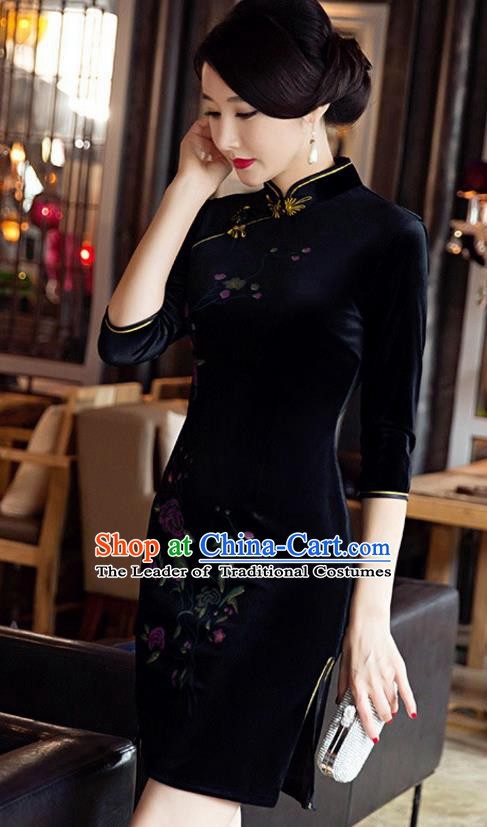 Top Grade Chinese National Costume Elegant Black Velvet Cheongsam Tang Suit Qipao Dress for Women