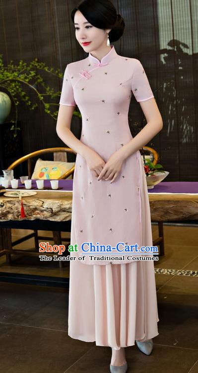 Top Grade Chinese National Costume Elegant Cheongsam Tang Suit Pink Qipao Dress for Women