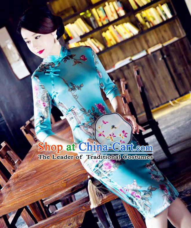 Top Grade Chinese National Costume Tang Suit Short Blue Qipao Dress Elegant Printing Cheongsam for Women