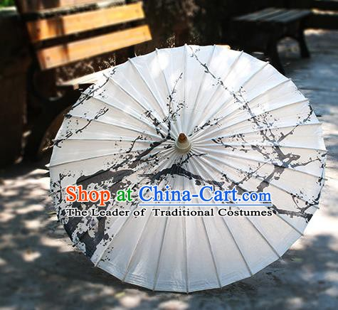 Chinese Handmade Paper Umbrella Folk Dance Ink Painting Plum Blossom Oil-paper Umbrella Yangko Umbrella