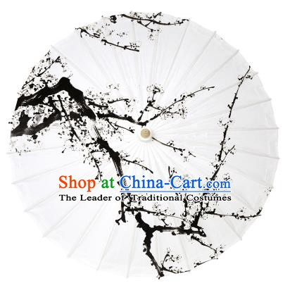Chinese Handmade Paper Umbrella Folk Dance Hand Painting Plum Blossom Oil-paper Umbrella Yangko Umbrella