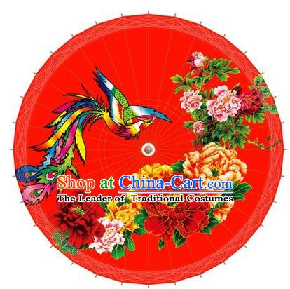 Chinese Handmade Painting Phoenix Peony Paper Umbrella Folk Dance Red Oil-paper Umbrella Yangko Umbrella