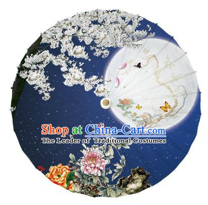 Chinese Handmade Painting Moon Peony Paper Umbrella Folk Dance Blue Oil-paper Umbrella Yangko Umbrella