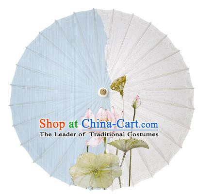 Chinese Handmade Painting Lotus Paper Umbrella Folk Dance Oil-paper Umbrella Yangko Umbrella