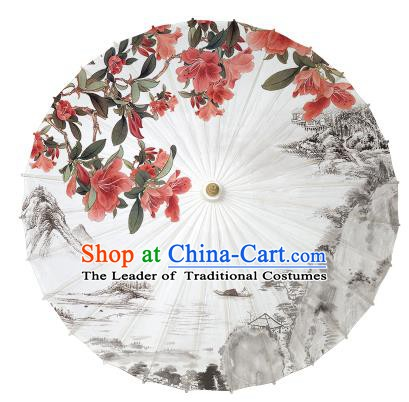 Chinese Handmade Paper Umbrella Folk Dance Hand Painting Oil-paper Umbrella Yangko Umbrella