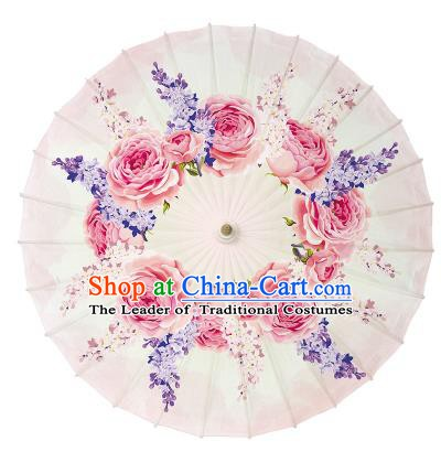 Chinese Handmade Paper Umbrella Folk Dance Hand Printing Rose Pink Oil-paper Umbrella Yangko Umbrella