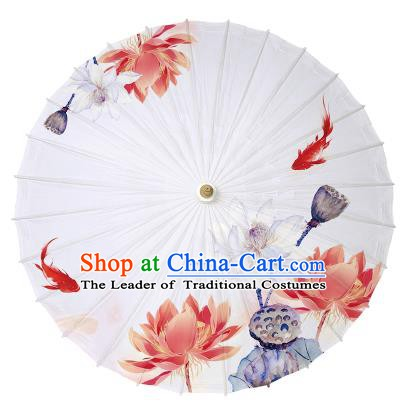 Chinese Handmade Paper Umbrella Folk Dance Hand Printing Lotus White Oil-paper Umbrella Yangko Umbrella