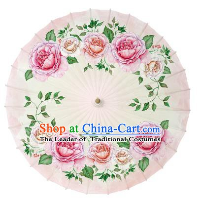 Chinese Handmade Paper Umbrella Folk Dance Hand Printing Flowers Oil-paper Umbrella Yangko Umbrella