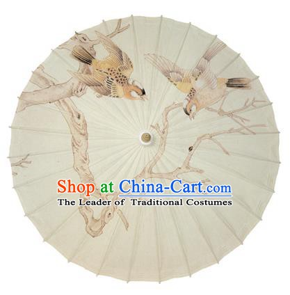 Chinese Handmade Paper Umbrella Folk Dance Hand Printing Birds Oil-paper Umbrella Yangko Umbrella