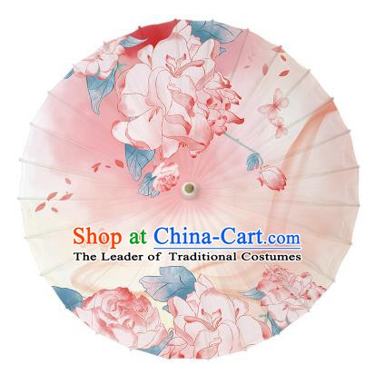 Chinese Handmade Paper Umbrella Folk Dance Printing Flowers Butterfly Oil-paper Umbrella Yangko Umbrella