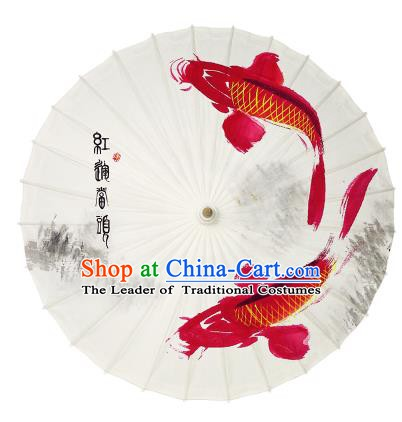 Chinese Handmade Paper Umbrella Folk Dance Printing Red Fishes Oil-paper Umbrella Yangko Umbrella
