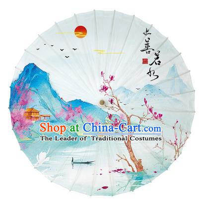Chinese Handmade Paper Umbrella Folk Dance Printing Mangnolia Oil-paper Umbrella Yangko Umbrella