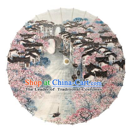 Chinese Handmade Paper Umbrella Folk Dance Painting Jiangnan Watertown Scenery Oil-paper Umbrella Yangko Umbrella