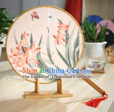 Chinese Traditional Round Fans Handmade Printing Orchid Circular Fan China Ancient Palace Fans