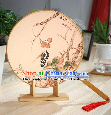 Chinese Traditional Round Fans Handmade Painting Butterfly Circular Fan China Ancient Palace Fans