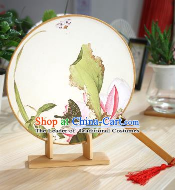 Chinese Traditional Round Fans Handmade Painting Lotus Leaf Circular Fan China Ancient Palace Fans