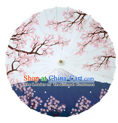 Chinese Traditional Paper Umbrella Folk Dance Handmade Painting Oriental Cherry Oil-paper Umbrella Yangko Umbrella