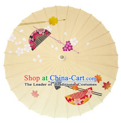 Chinese Traditional Paper Umbrella Folk Dance Handmade Painting Oriental Cherry Oil-paper Umbrella Kimono Umbrella