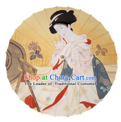 Chinese Traditional Paper Umbrella Folk Dance Handmade Painting Geisha Oil-paper Umbrella Kimono Umbrella