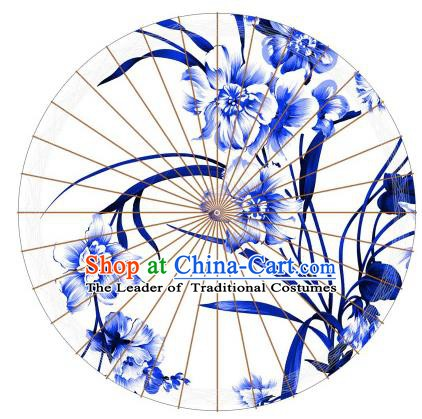 Chinese Traditional Paper Umbrella Folk Dance Painting Blue Orchid Oil-paper Umbrella Handmade Umbrella