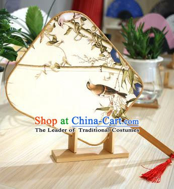 Chinese Traditional Printing Bamboo Birds Fans Handmade Square Fan China Ancient Palace Dance Fans