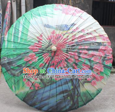Chinese Traditional Artware Paper Umbrella Folk Dance Painting Plum Blossom Oil-paper Umbrella Handmade Umbrella