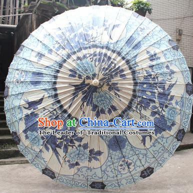 Chinese Traditional Artware Paper Umbrella Folk Dance Painting Peony Blue Oil-paper Umbrella Handmade Umbrella