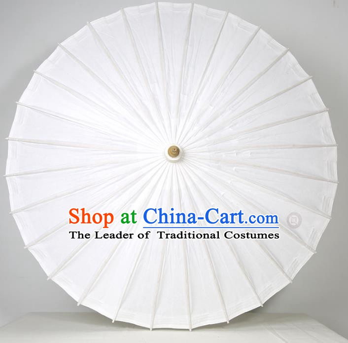 Chinese Traditional Artware Paper Umbrella Folk Dance Pure White Oil-paper Umbrella Handmade Umbrella