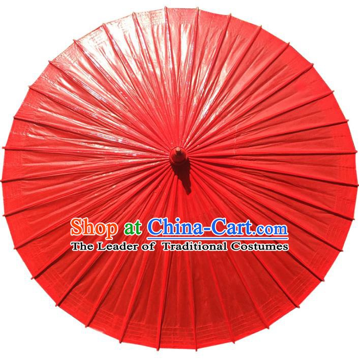 Chinese Traditional Artware Paper Umbrella Folk Dance Pure Red Oil-paper Umbrella Handmade Umbrella