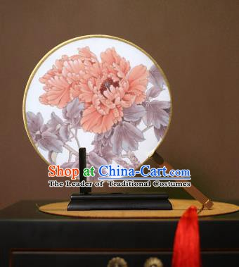 Chinese Traditional Circular Fans Handmade Printing Red Peony Round Fan China Ancient Palace Dance Fans