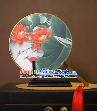 Chinese Traditional Circular Fans Handmade Printing Red Lotus Round Fan China Ancient Palace Dance Fans