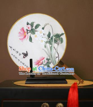 Chinese Traditional Circular Fans Handmade Printing Butterfly Flowers Round Fan China Ancient Palace Dance Fans