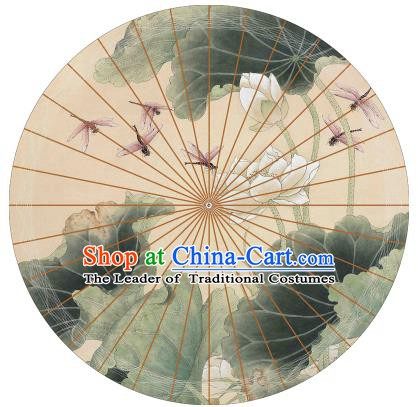 Chinese Traditional Craft Paper Umbrella Folk Dance Printing Lotus Oil-paper Umbrella Handmade Umbrella