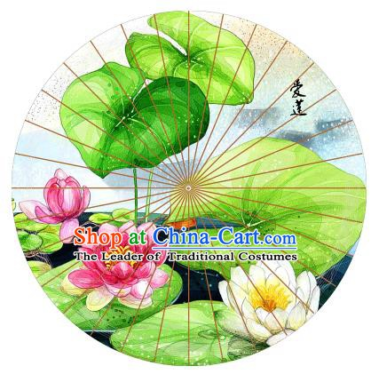 Chinese Traditional Craft Printing Lotus Paper Umbrella Folk Dance Oil-paper Umbrella Handmade Umbrella