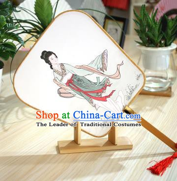 Chinese Traditional Printing Beauty Fans Handmade Square Fan China Ancient Palace Dance Fans