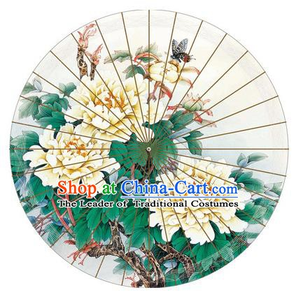 Chinese Traditional Artware Printing Peony Paper Umbrella Classical Dance Oil-paper Umbrella Handmade Umbrella