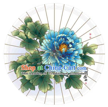 Chinese Traditional Artware Printing Blue Peony Paper Umbrella Classical Dance Oil-paper Umbrella Handmade Umbrella