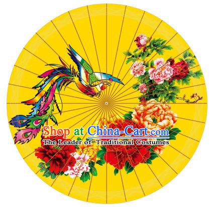 Chinese Traditional Artware Printing Phoenix Peony Paper Umbrella Classical Dance Yellow Oil-paper Umbrella Handmade Umbrella