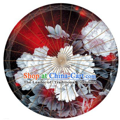 Chinese Traditional Artware Painting White Peony Paper Umbrella Classical Dance Oil-paper Umbrella Handmade Umbrella