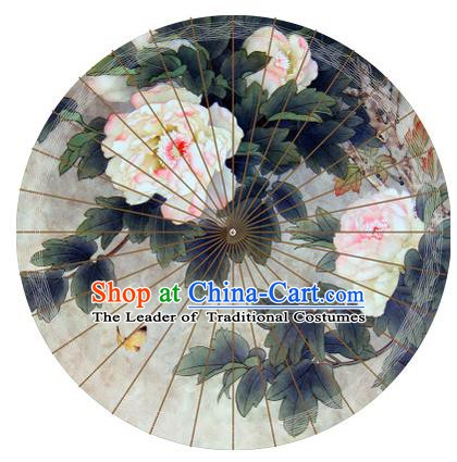 Chinese Traditional Artware Painting Peony Paper Umbrella Classical Dance Oil-paper Umbrella Handmade Umbrella