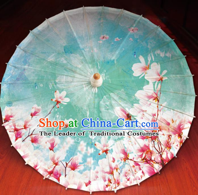 Chinese Traditional Artware Painting Mangnolia Umbrella Classical Dance Green Oil-paper Umbrella Handmade Umbrella