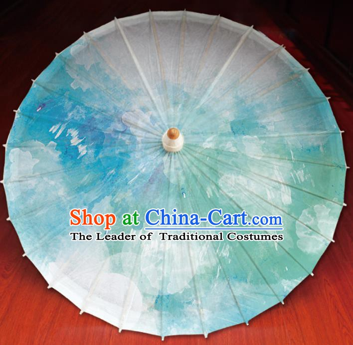 Chinese Traditional Artware Printing Umbrella Classical Dance Green Oil-paper Umbrella Handmade Umbrella