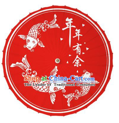 Chinese Traditional Artware Printing Fishes Umbrella Classical Dance Red Oil-paper Umbrella Handmade Umbrella