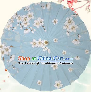 Chinese Traditional Artware Blue Paper Umbrella Classical Dance Printing Peach Blossom Oil-paper Umbrella Handmade Umbrella
