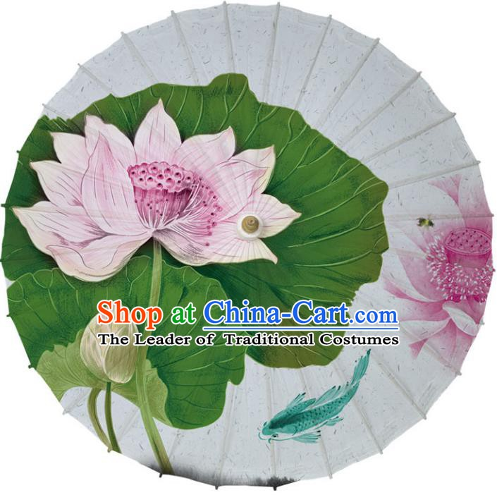Chinese Traditional Artware White Paper Umbrella Classical Dance Umbrella Printing Lotus Oil-paper Umbrella Handmade Umbrella