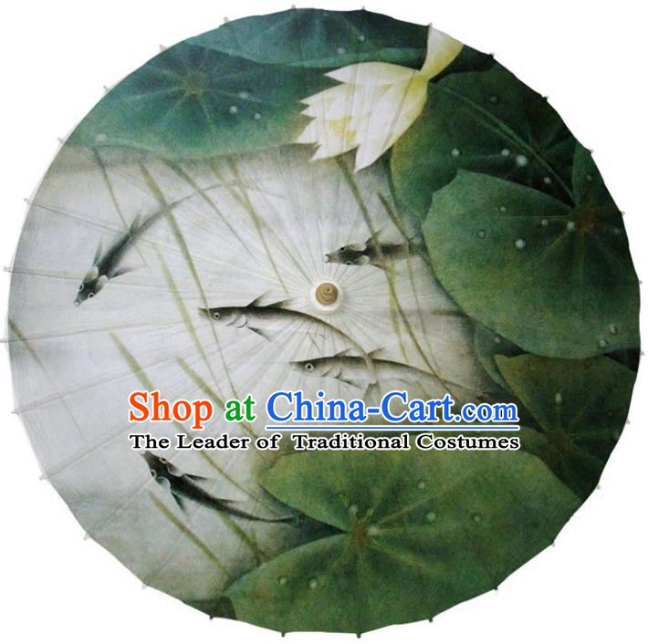 Chinese Traditional Artware Paper Umbrella Classical Dance Umbrella Printing Fish Lotus Oil-paper Umbrella Handmade Umbrella