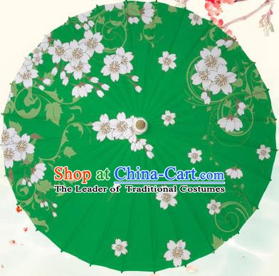 Chinese Traditional Artware Deep Green Paper Umbrella Classical Dance Printing Peach Blossom Oil-paper Umbrella Handmade Umbrella