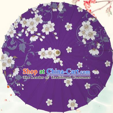 Chinese Traditional Artware Purple Paper Umbrella Classical Dance Printing Peach Blossom Oil-paper Umbrella Handmade Umbrella