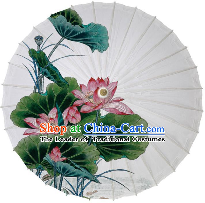 Chinese Traditional Artware Paper Umbrella Classical Dance Umbrella Printing Red Lotus Oil-paper Umbrella Handmade Umbrella