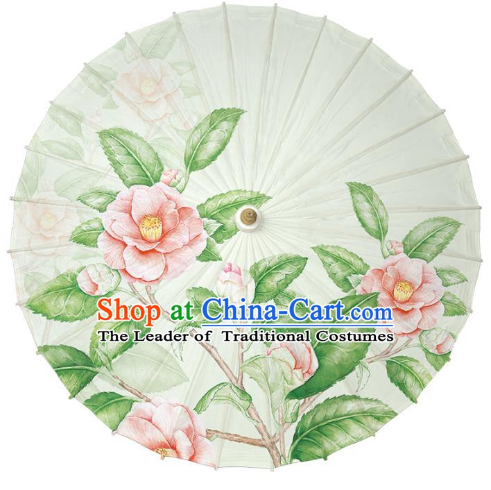 Chinese Traditional Artware Paper Umbrella Classical Dance Umbrella Printing Camellia Oil-paper Umbrella Handmade Umbrella